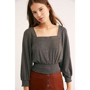 Free People Cropped Grey Blouse